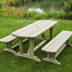 devon dining table and 2 bench set