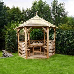 sandringham gazebo open side with table and 5 benches