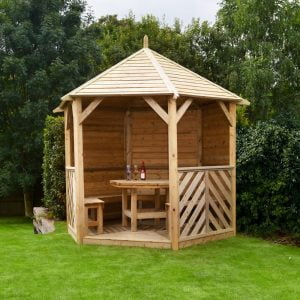 sandringham gazebo solid side with table and 5 benches