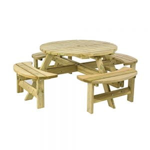 8 seater round picnic bench