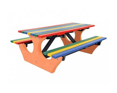 multicoloured big bench with orange bench