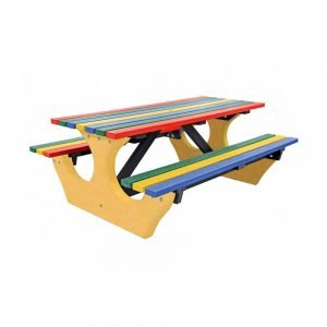 multicoloured big bench with yellow base