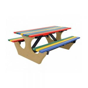 multicoloured big bench with beige base