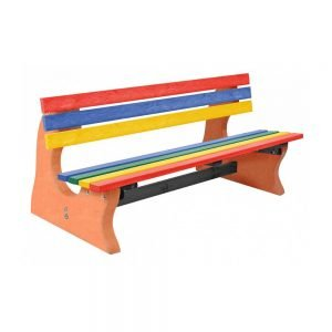 multicoloured park bench with terracotta base