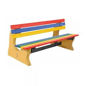 multicoloured park bench with yellow base