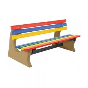 multicoloured park bench with beige base