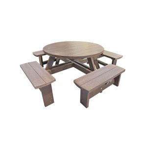 brown junior hatfield round picnic table