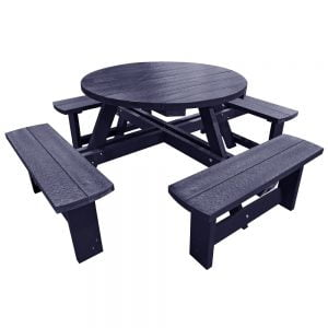 Hatfield Round Adult Black Picnic Bench no parasol