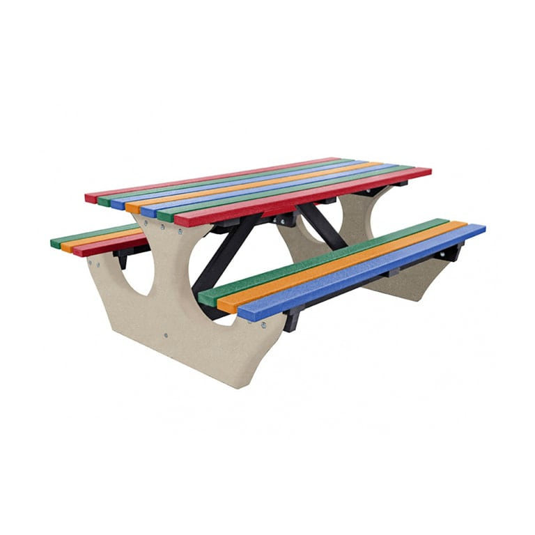 The Big Bench Recycled Plastic Multi Picnic Bench no parasol