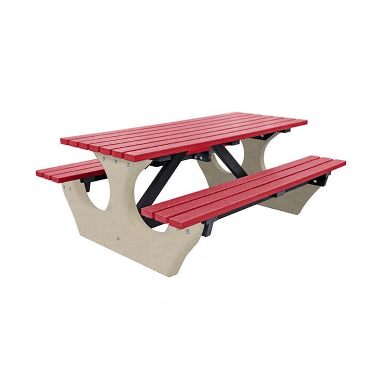 The Big Bench Recycled Plastic Red Picnic Bench no parasol
