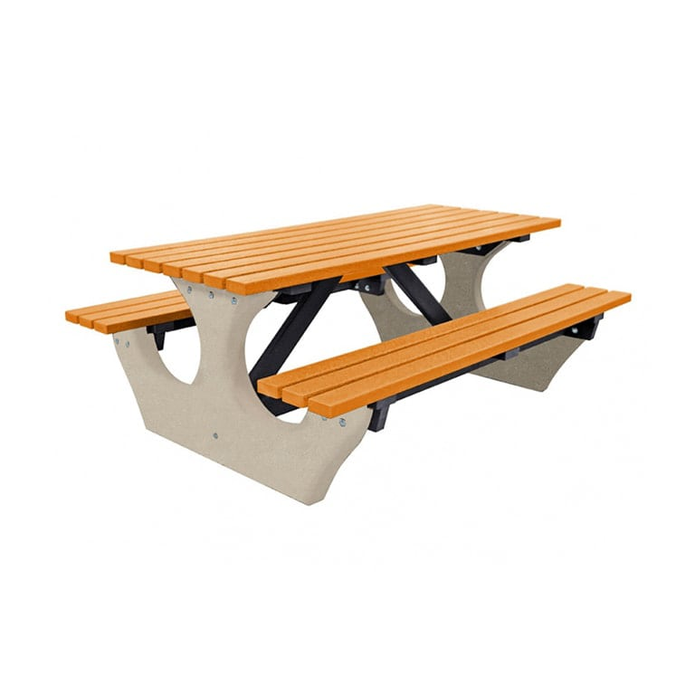 The Big Bench Recycled Plastic Yellow Picnic Bench no parasol